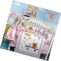 SoHo Pink Dancing Owl Baby Crib Nursery Bedding Set with