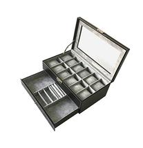 PU Leather Glass Top Watch Box with Jewelry tray - Black