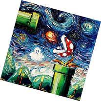 Starry Night Piranha Plant - Video Game Art - Poster print