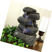 Sunnydaze Stacked Rocks Tabletop Water Fountain with LED