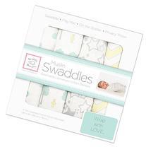 SwaddleDesigns 4 Piece Muslin Swaddle Blankets, Woodland Fun