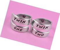 TWIN ONE, TWIN TWO - Hand Stamped Aluminum Spiral Rings Set
