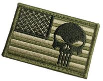 """Tactical USA Flag with Punisher Patch 2""""x3""""  Backing -"""
