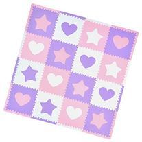 Tadpoles Soft EVA Foam 16pc Playmat Set, Hearts and Stars,