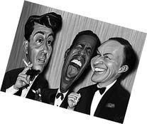 The Rat Pack Huge 37 x 29 Artwork Of Sammy Davis Jr. Frank