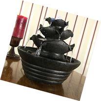 Sunnydaze Black Three Tier Cascading Tabletop Fountain w/