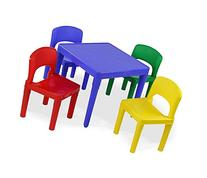 Tot Tutors Kids Plastic Table and 4 Chairs Set, Primary