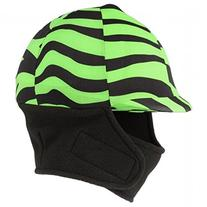 Tough-1 Green Zebra Lycra Helmet Cover with Fleece Neck and
