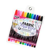 Tulip Fine Fabric Markers 12/Pkg-Assorted