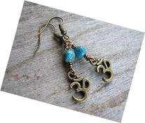 Turquoise Om Earrings, Buddhist Earrings, Composite