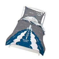 Twin Rocket Reversible Duvet Cover Set with 1 Pillowcase for