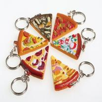 US Toy - Assorted Pizza Slice Key Chains, 1.75, Made of