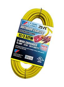 US Wire 74025 12/3 25-Foot SJTW Yellow Heavy Duty Lighted