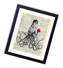 Victorian Octopus Lady Upcycled Vintage Dictionary Art Print