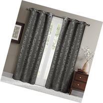 Virginia Gray Grommet Blackout Weave Embossed Window Curtain