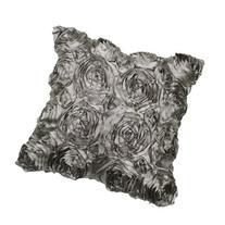 VivReal Grey Satin Rose Flower Square Pillow Cushion