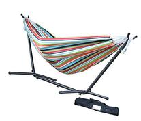 Vivere Double Sunbrella Hammock with Steel Stand