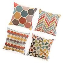 WOMHOPE 4 Pack - 18 x 18 Inch Colorfull Stripe Vintage Style