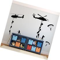 Army Wall Decals, Soldiers Parachuting From Helicopters for