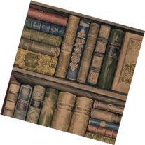 Wallpaper Designer Library Bookshelves Brown Green Red Gold