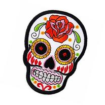 White Novelty Iron on Skull Candy Embroidered Patch / Badge