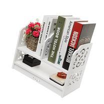 White Openwork Freestanding Book Shelf / Desk Top