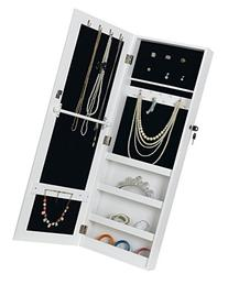 White Wall/Door-Mount Mirrored Jewelry Cabinet Makeup