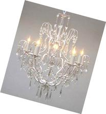 White Wrought Iron Crystal Chandelier Chandeliers Lighting