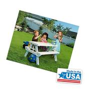 White foldable Children's Picnic Table 600 lbs plastic