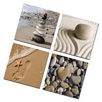 Wieco Art - Romantic Beach Theme 4 Panels Modern Giclee