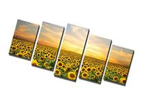 Wieco Art Sunflowers Modern 5 Panels Stretched and Framed