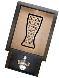 "Wooden Shadow Box Bottle Cap Holder 9""x15"" with Bottle"
