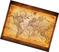 World Map Antique Vintage Old Style Decorative Educational