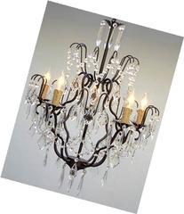 "Wrought Iron Crystal Chandelier Chandeliers Lighting H27"" x"