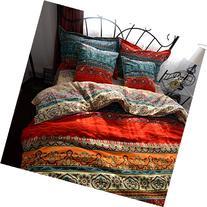 MAXYOYO New!Boho Style Duvet Cover Set,Colorful Stripe Sheet