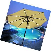 Yescom 9' Outdoor Solar Powered LED Umbrella 8 Ribs w/ 32