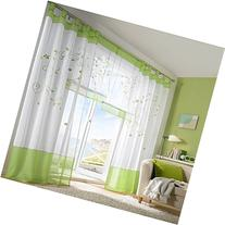 ZARABE Green pastoral embroidery curtain living room bedroom
