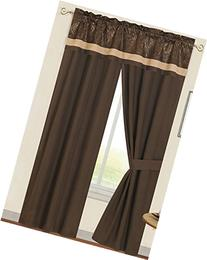 Zambia 5 Piece Window Set with Attached Valance and Tiebacks