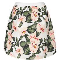 A Line Floral High Waisted Mini Skirt