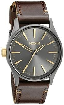 Nixon Sentry 38 Leather A377595-00. Gunmetal and Gold Men'