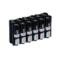 Storacell by Powerpax AA Battery Caddy, Black, Holds 12