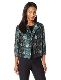 Anne Klein Women's Abstract Jacquard Flyaway Jacket, Tree