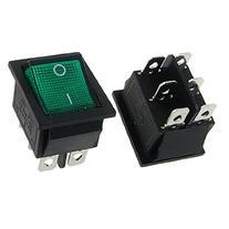 uxcell AC 16A/250V 20A/125V Green Light Illuminated DPDT ON/