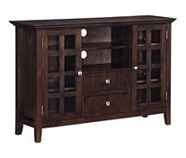 Simpli Home Acadian Solid Wood Tall TV Media Stand for TVs