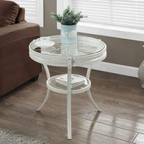 """20"""" Accent Table with Tempered Glass, Antique White"""