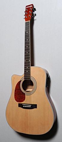 Acoustic Electric Cutaway Steel String Guitar, Thin Body