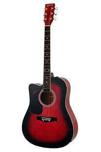 Full Size Red Cutaway Acoustic Guitar with Free Carrying Bag