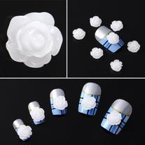 350buy 20x Acrylic 3D White Flowers Slices Nail Art Tips UV