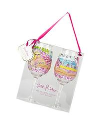 Lilly Pulitzer Acrylic Wine Glass Set, Meet Me at The Beach