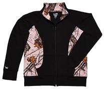 WD Womens Activewear Black Jacket with Pink Mossy Oak